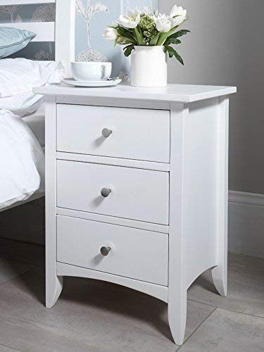 Sikzom Bed Side Table,Bedside Table for Bedroom with 3 Drawer Side Table  White Finish  Wood Type :- Sheesham (Solid Wood)