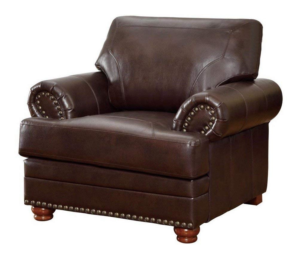 Yovisi Single Seater Leatherette Sofa for Home Brown Color