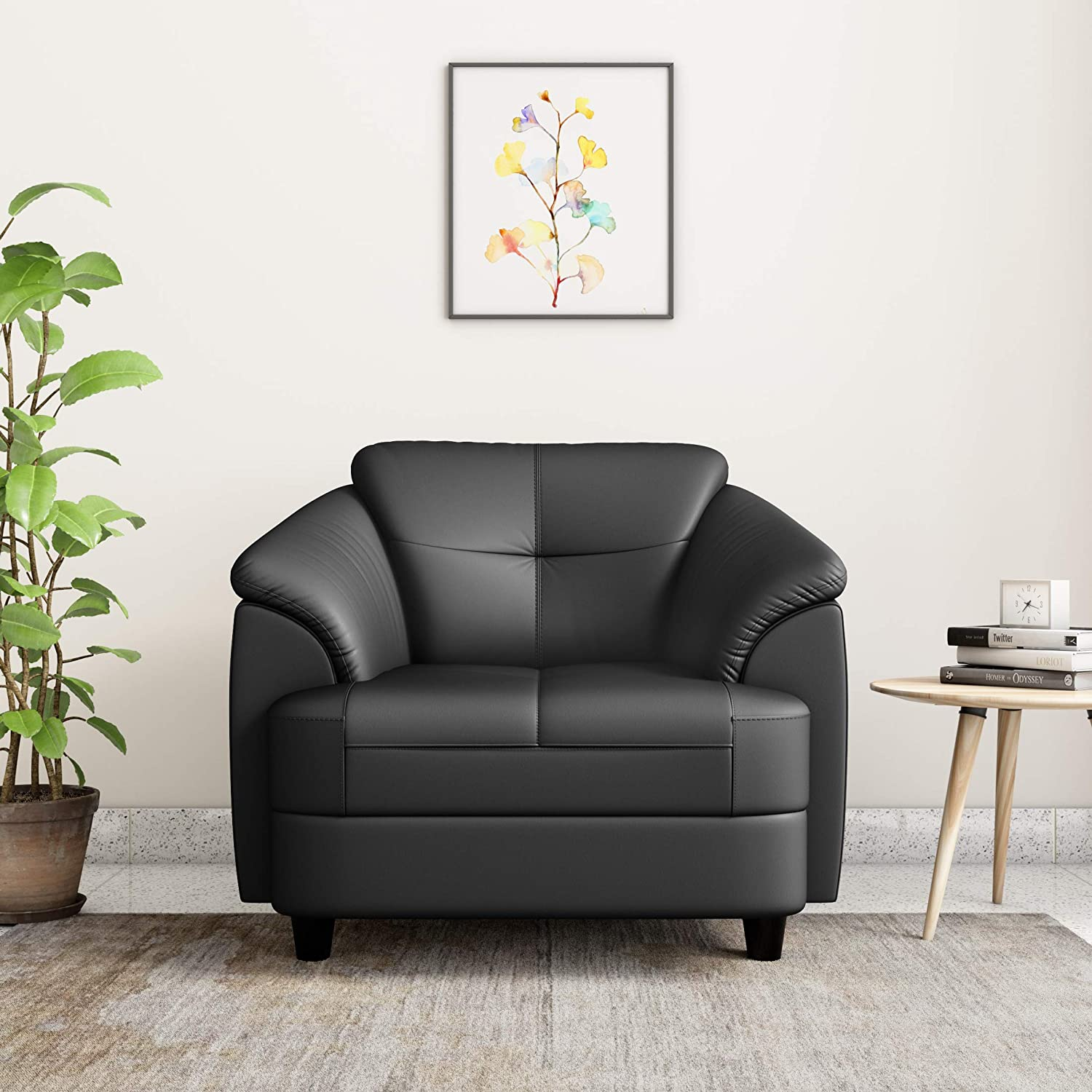 Hother  Leatherette 1 Seater Sofa (Black)