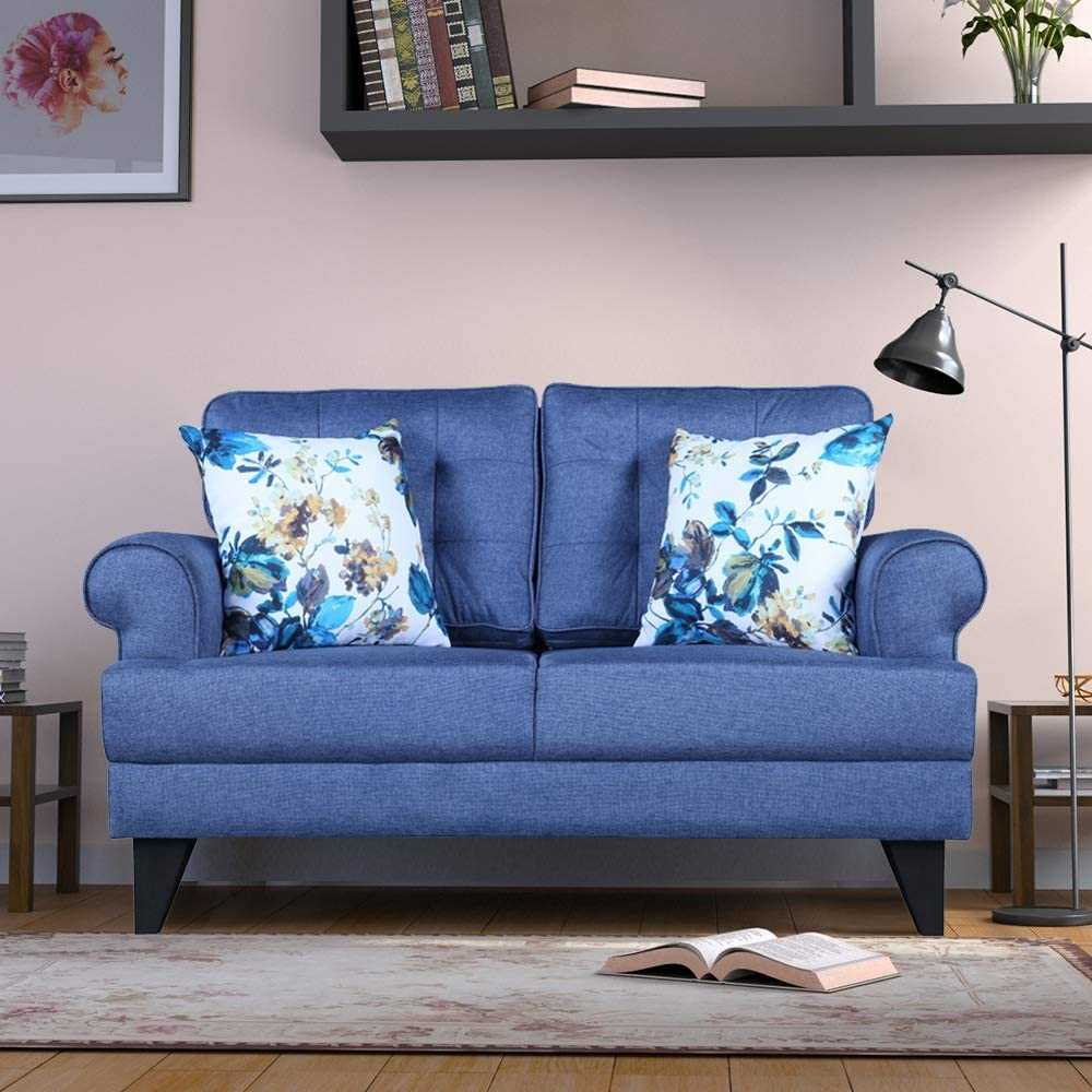 Mhallo Fabric sofa 2 seater for Living Room (Blue)