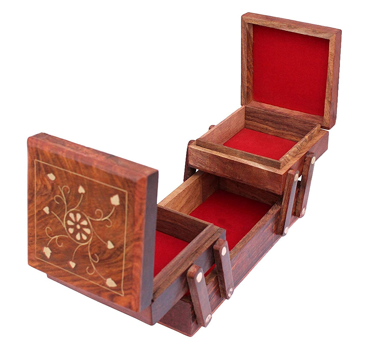 Sheesham Wood Wooden Jewellery Box for Women  Jewel Organizer Box Hand Carved Carvings, (8 inches) Gift Items