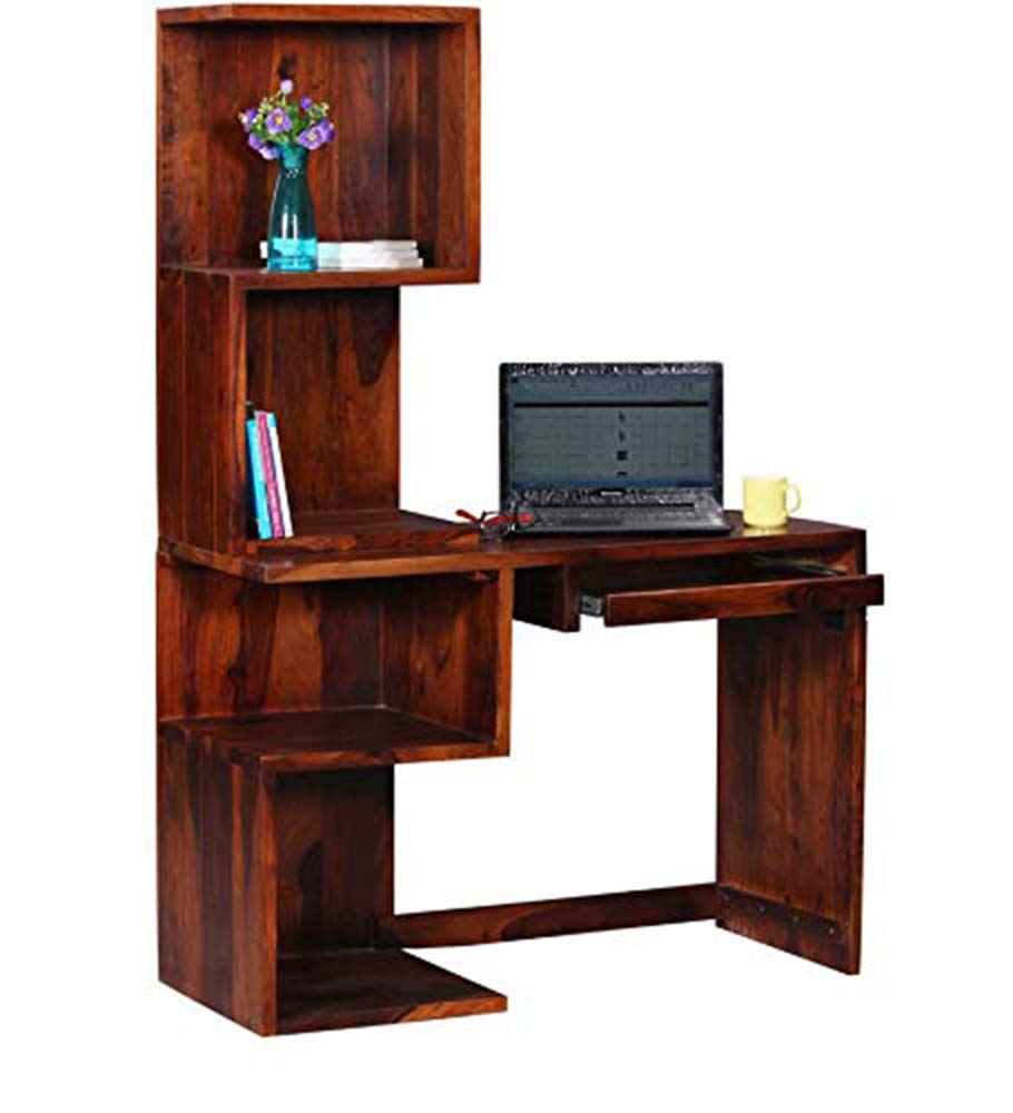 Volbe Wooden computer Table with Shelf Storage for Living Room Hall Bedroom (Honey Oak Finish)