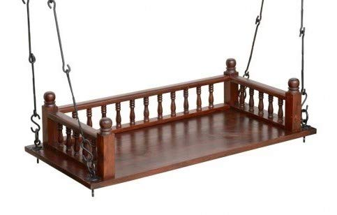 Sharkol Wooden Hanging Swing Set/Jhula/Zula with Melamine Coating for Home and Garden in Teak Wood.