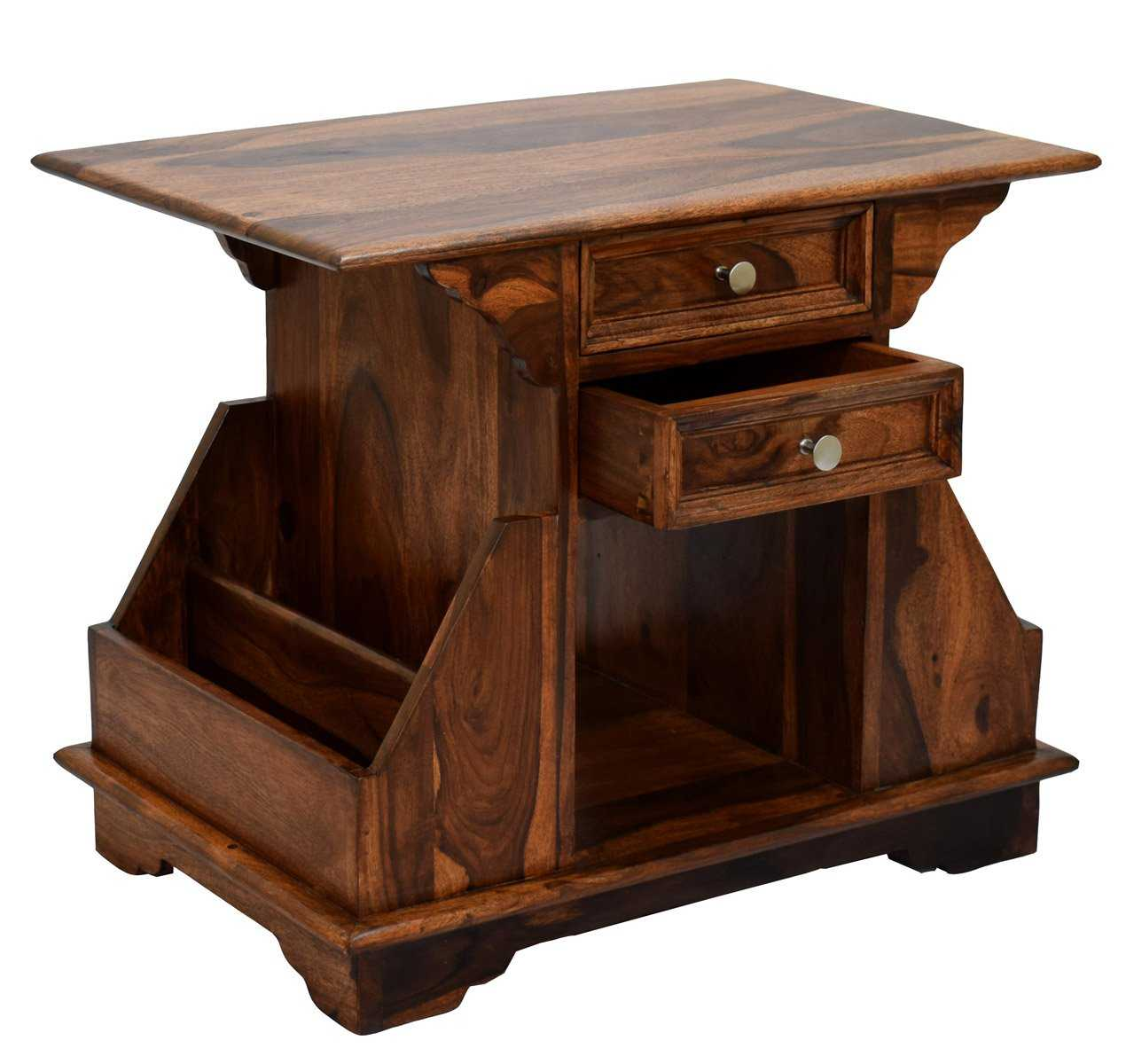 Barniv Drawer Bala Natural Teak Finish Side End Corner Accent Table Magazine Stand l Home Furniture
