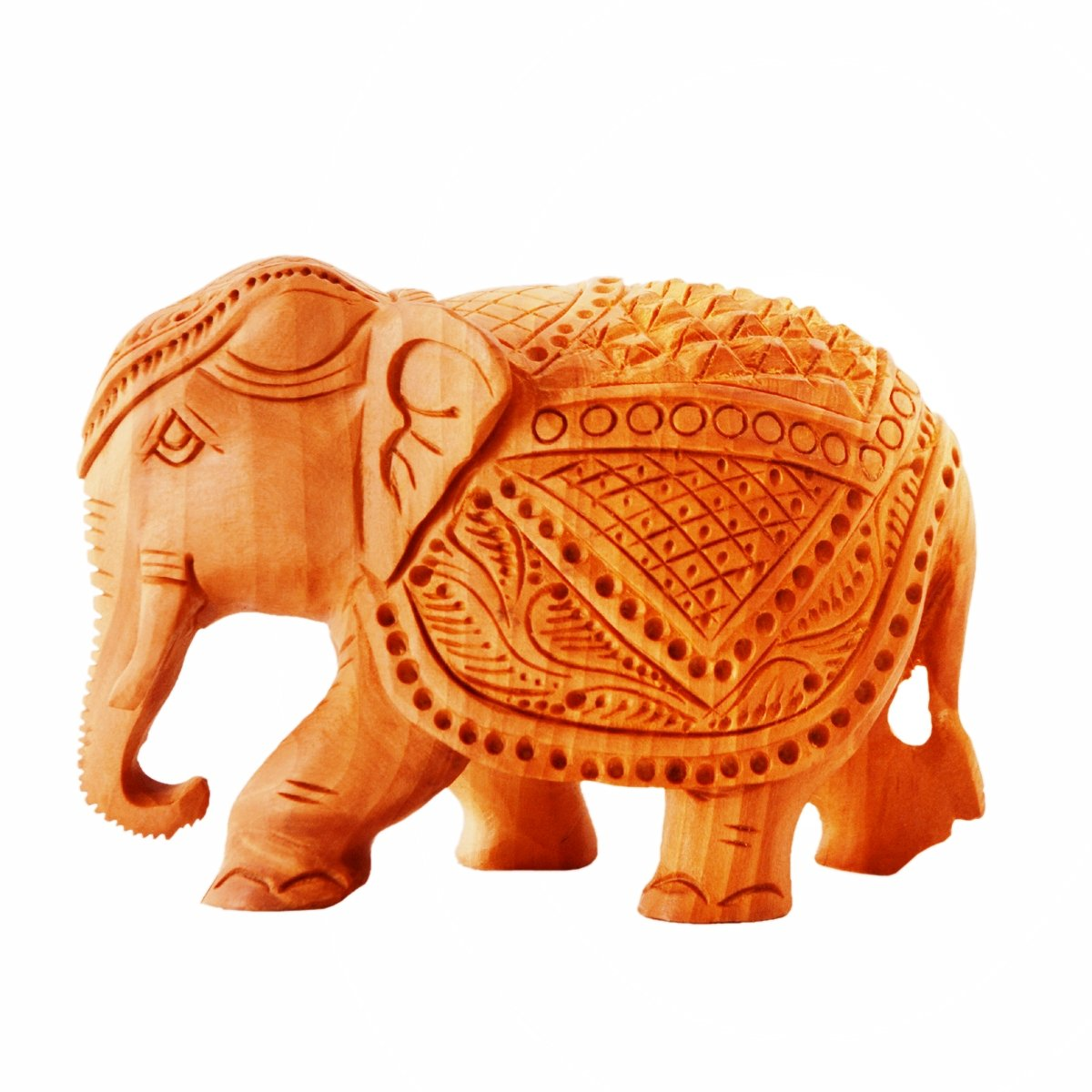 Kalto Solid wood Carved Elephant Miniature Idol for Table Tops, Showpiece