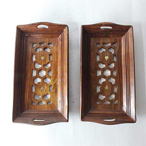 Jokij Sheesham wood Hand-Carved Design Small Serving Tray Set of 2 (Honey finish)