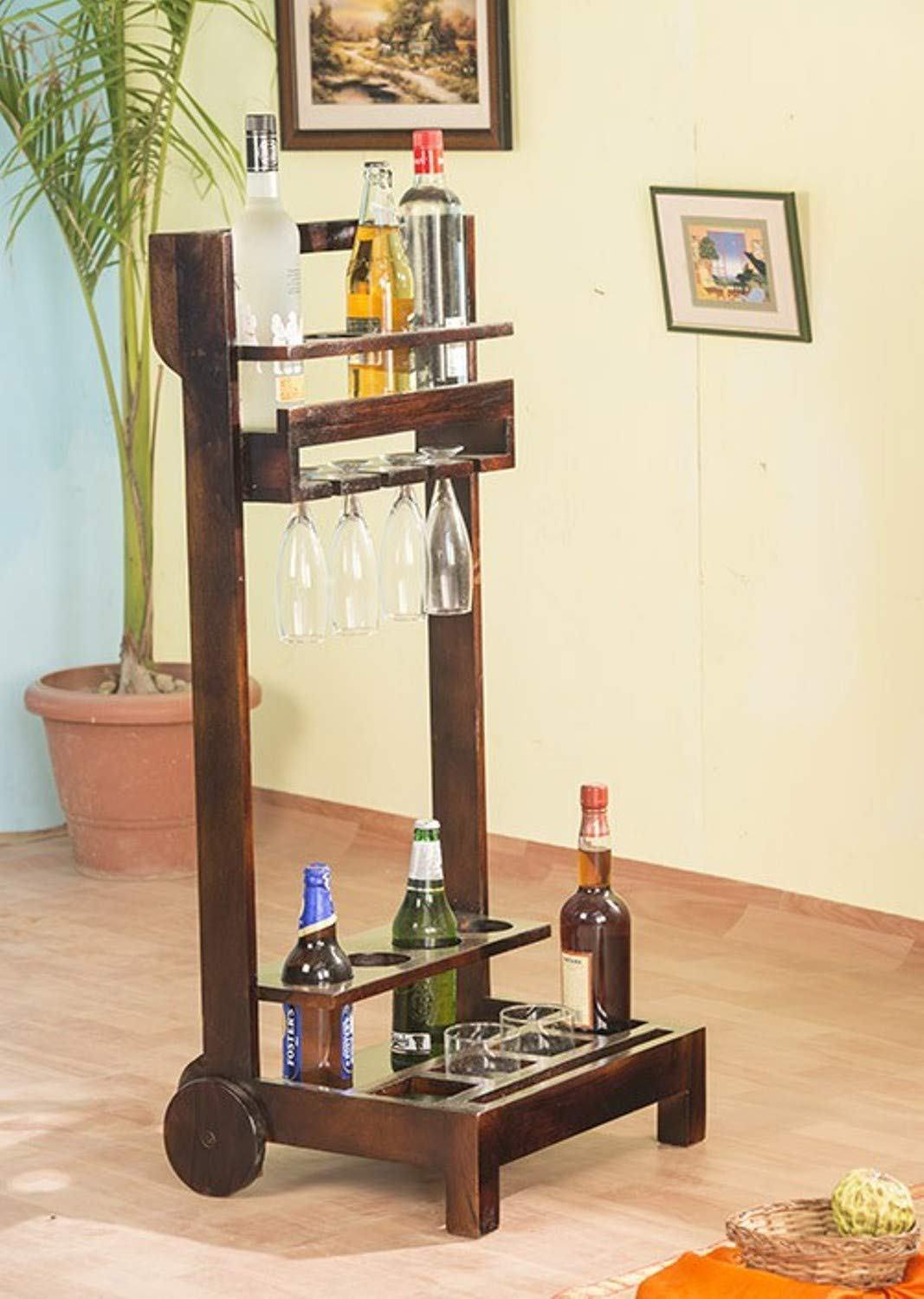 Avoomi Bar Trolley  Wooden Wine Trolley  Brown Finish