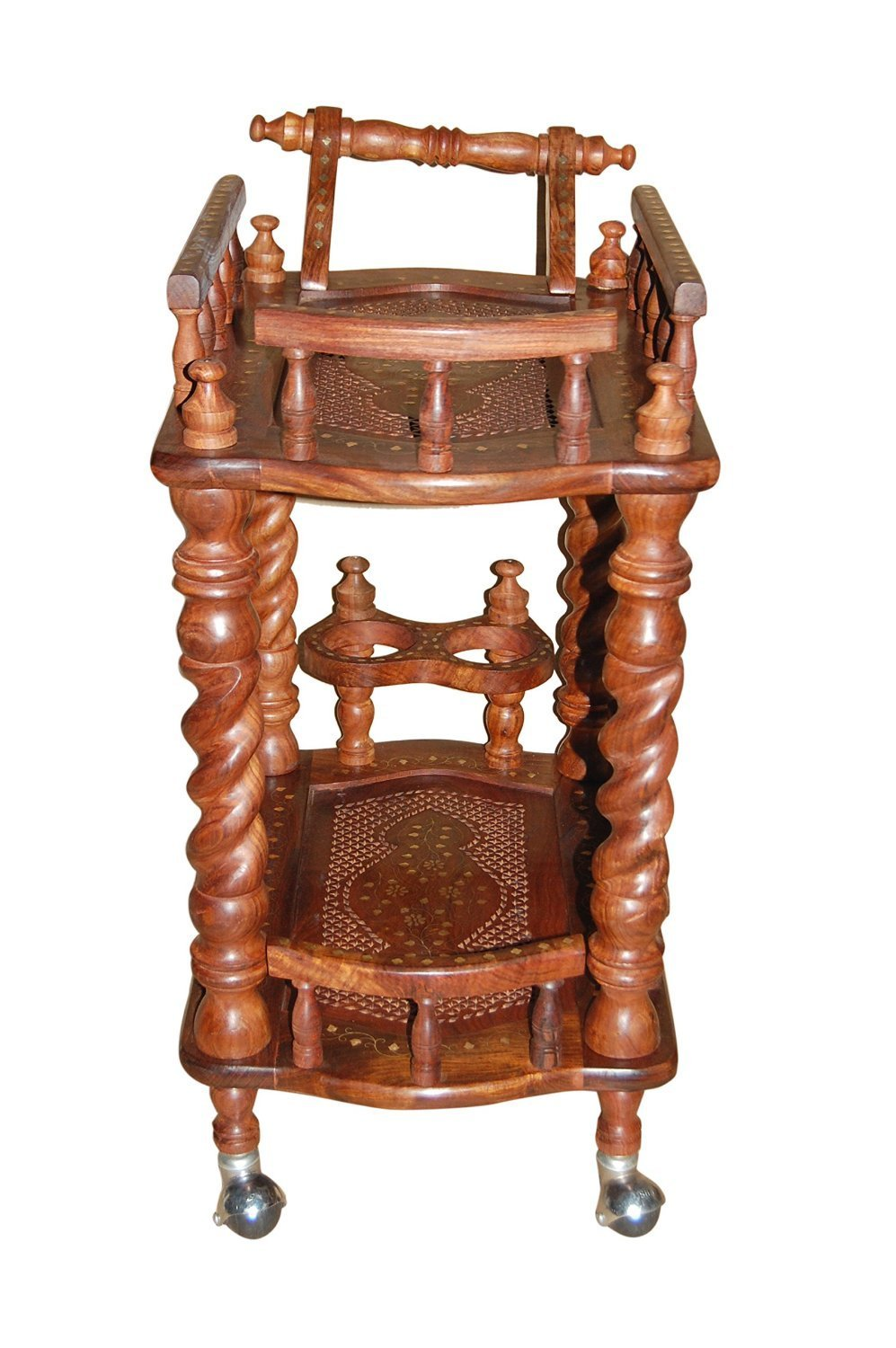 Solminf wooden carved service trolley/bar trolley/kitchen trolley