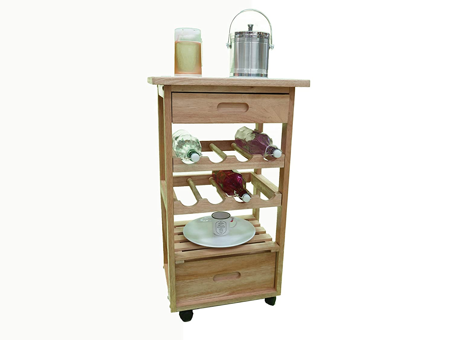 Koolde Top Bar Trolley. with 8 Bottles Holder, shelve and 2 Drawers.