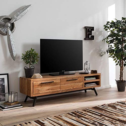 Wizvol Wooden TV Stand Wooden  Shelf and Drawer Storage  TV Unit for Living Room  Acacia Wood, Natural Finish