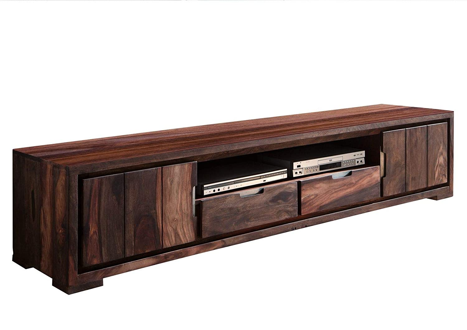 Renvik Wooden TV Stand Unit for Living Room with 2 Cabinets, 2 Drawers & Shelf Storage  Sheesham, Dark Brown