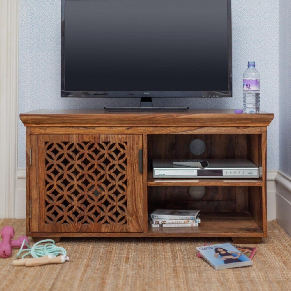 Mizfi Wooden TV Stands for Living Room TV Cabinet Furniture TV Entertainment Units Honey Finish