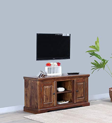 Relbov Wooden Entertainment TV Unit  Living Room Furniture with 2 Cabinet & Shelf Storage Sheesham Wood, Honey Oak Finish