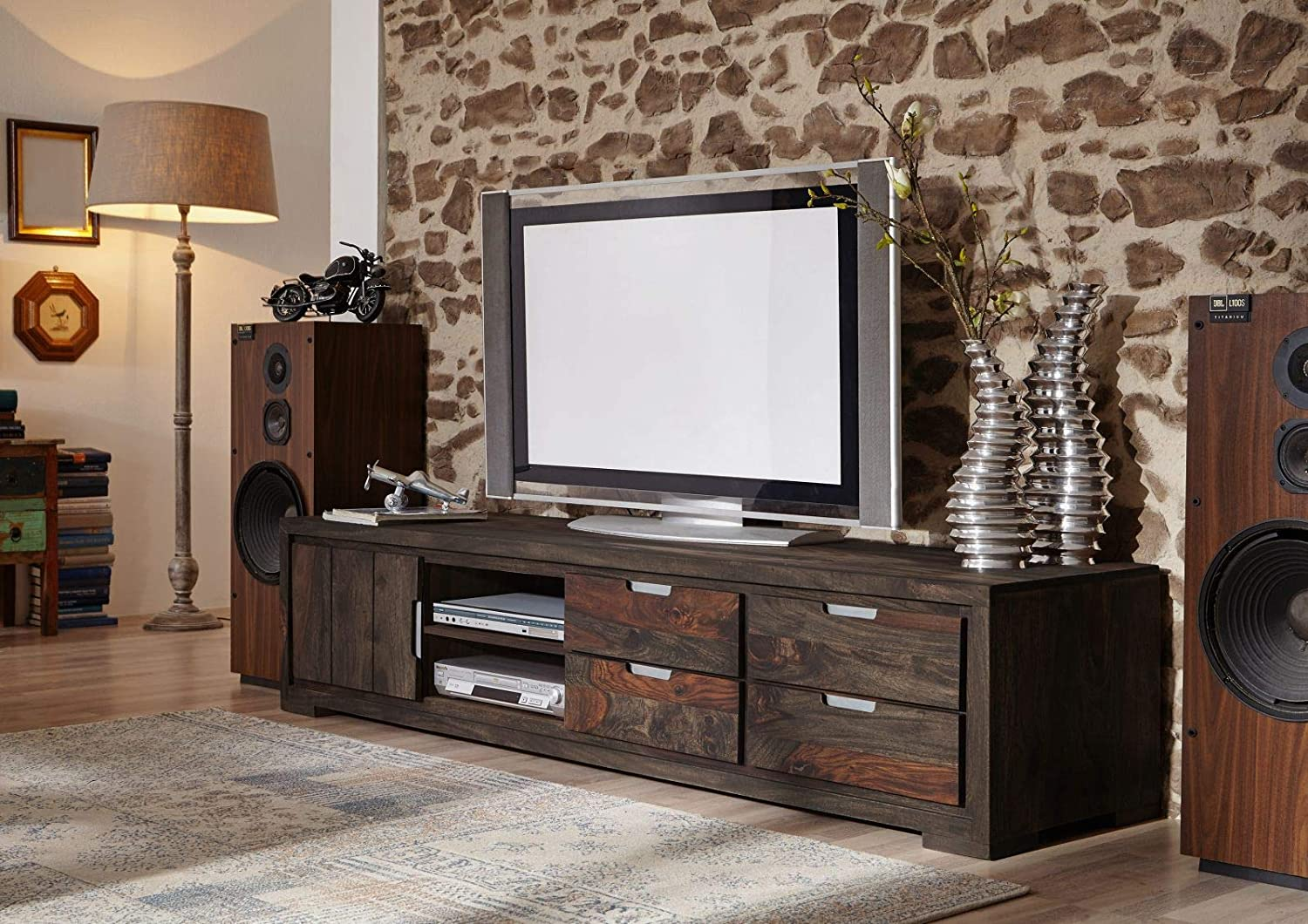 Alliy Wooden Entertainment TV Unit Living Room Furniture with Cabinet, 2 Shelf & 4 Drawers Storage Sheesham Wood, Warm Chestnut