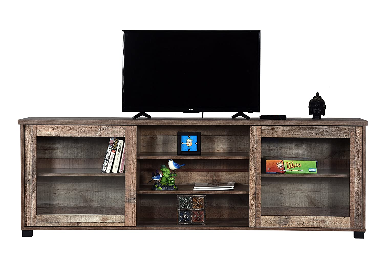 Kolmis TV Unit for Living Room, tv unit antique (Pinewood, Matte Finish)