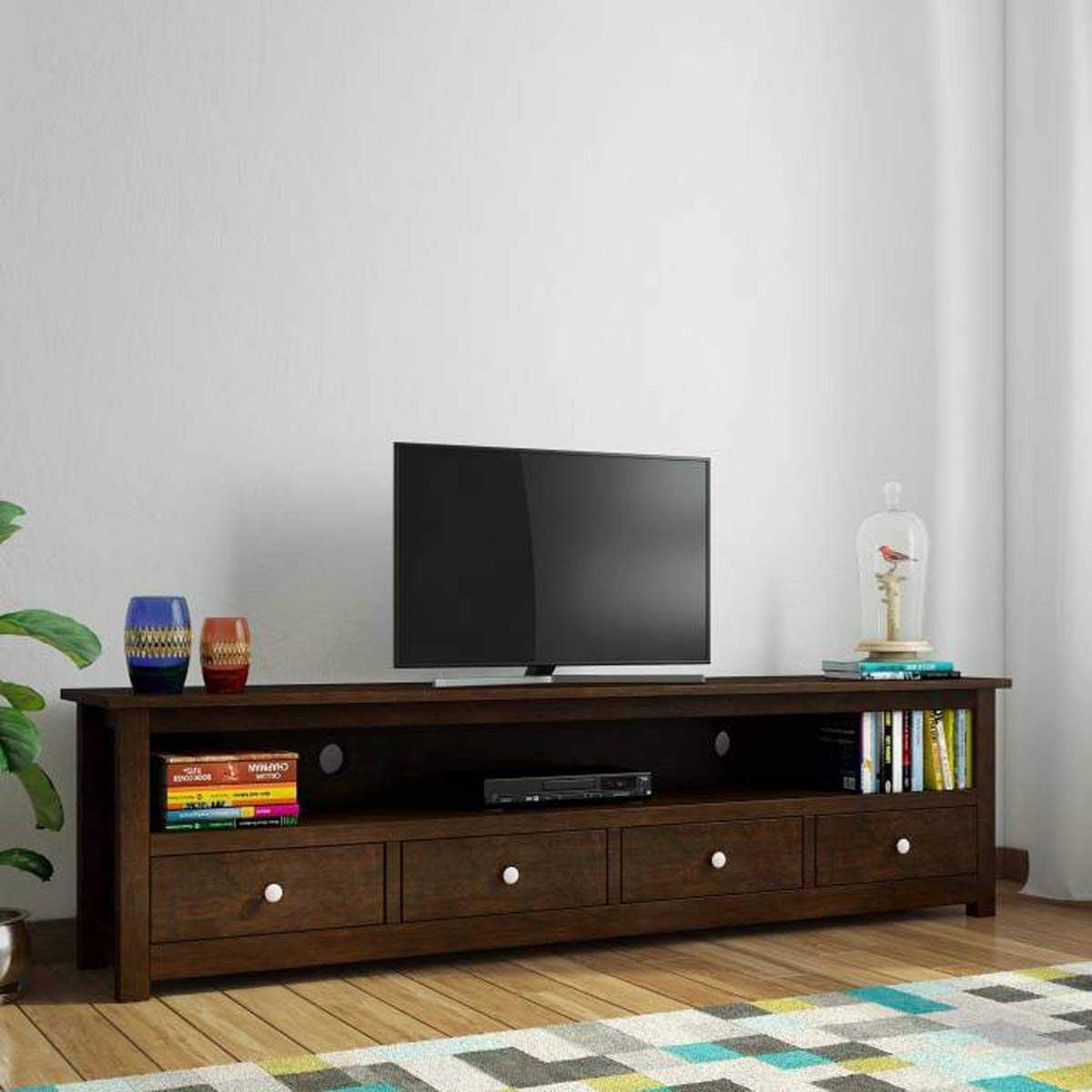 Miklen  TV Unit Cabinet Entertainment Stand (Dark Walnut Finish)
