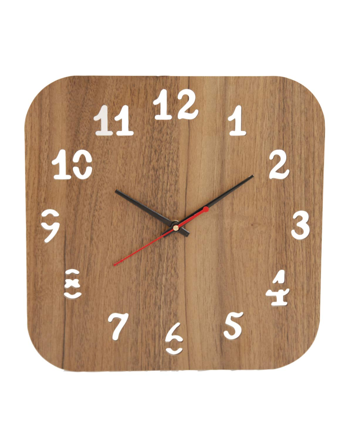 Ptako  Square Shape Wooden Wall Clock for Home