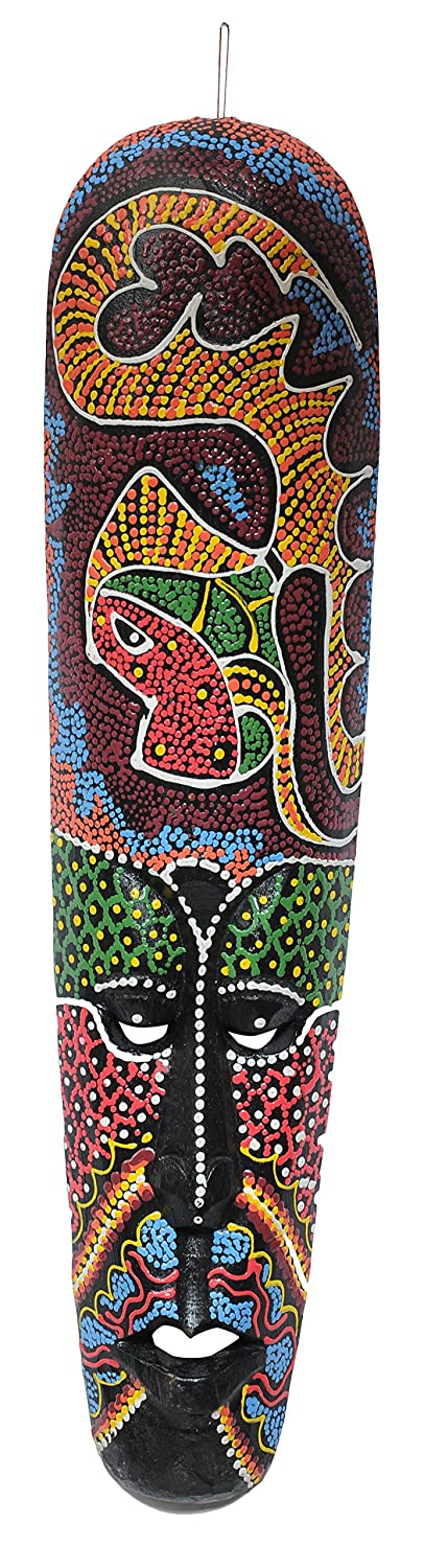Mokem  Wall Mask Decorative African Hand Carved Mask (20 x 6.5 x 1 inch, Multicolour)