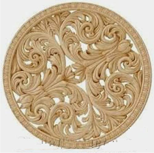Aloomes Wooden Hand Carved Round Wall Medallion Hanging Panel in Standard