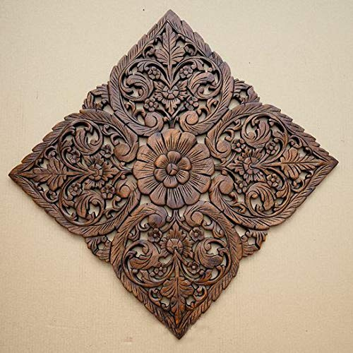 Zolly Wooden Wall Panel Brown, Wooden Wall Hanging Plaque, Wall Decoration Panel or Frame with Size 2x2 feet in Antique Brown Color