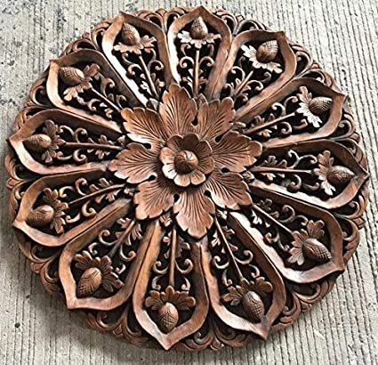 Kodoz Wooden  MDF Wall Decoration Panel, Wooden Wall Hanging Round Plaque, Wall Decoration Panel or Frame with 2 feet diamater in Antique Brown Color