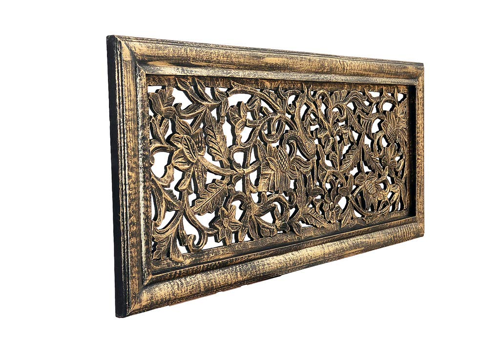 Fimno Wooden Decorative & Hand Crafted Antique Gold Finished Wooden Wall Decor/Wall Panel for Living Room, Bedroom, Hallway, Office