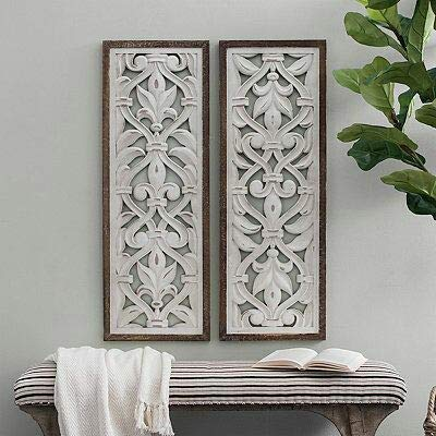 Komdi  Wooden White Flower Decorative Wooden Wall Hanging and Wall Panel