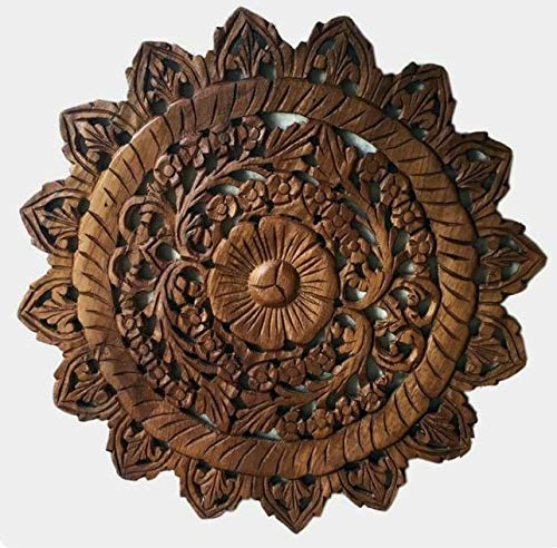 Zomlin Wooden Round Shape Wall Hanging Plaque Home Decorative Wall Panel