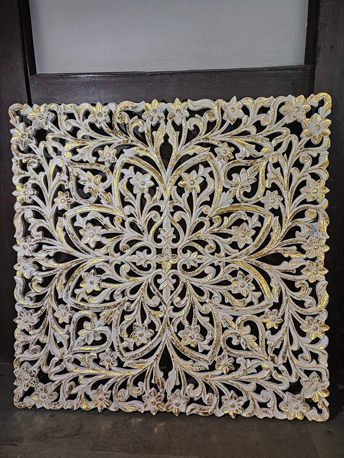 Romo Wooden Carved Wall Panel (White and Golden)