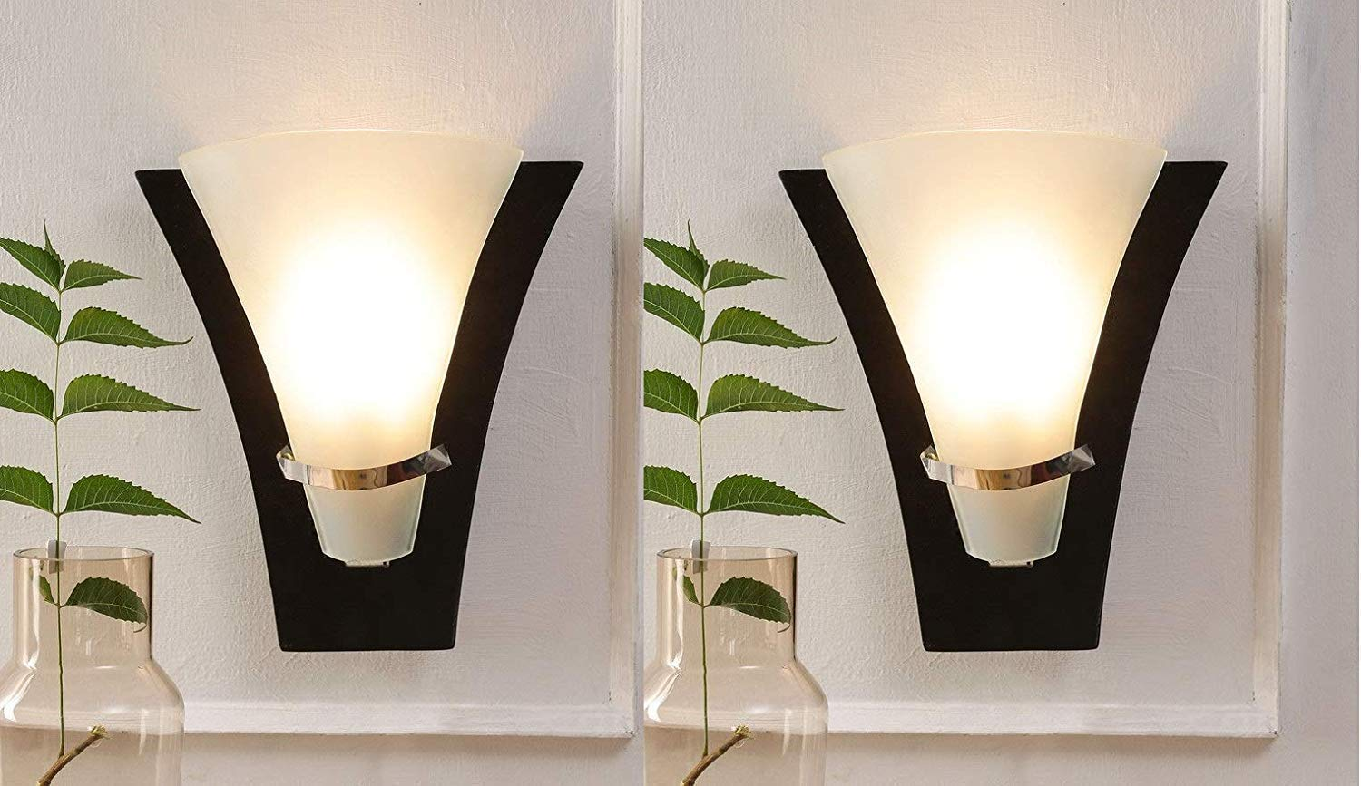 Photub  Mango wood Set of 2 Wooden Uplighter LED Wall Lamp