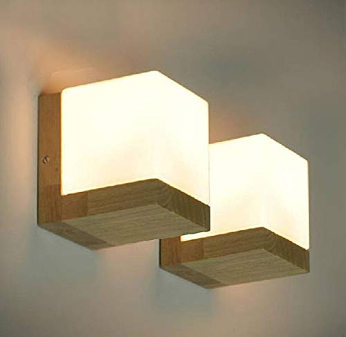 Ekmuye Wall Lamp with Wooden Fitting and Glass Shade
