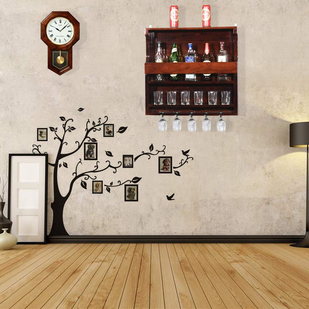 Aloomed Wine Bottle Rack with Glass Storage for Home Bar Furniture