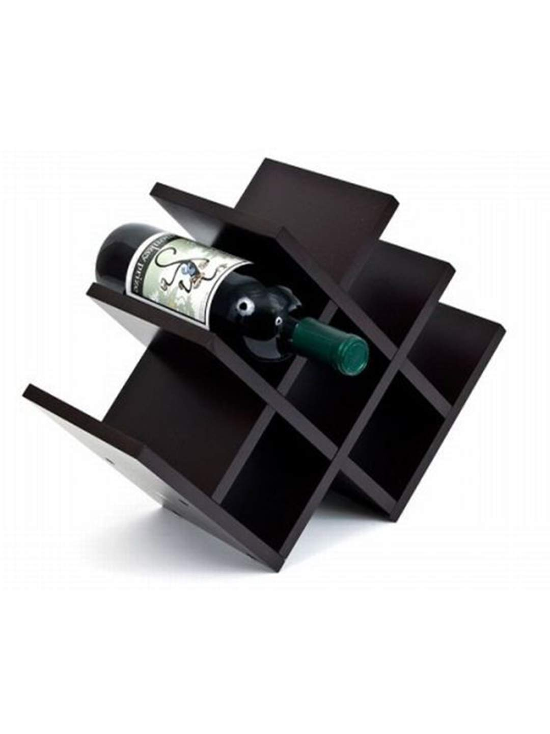 Algofi 8 Bottle Pyramid Wooden Wine Rack Holder Organizer Display Shelf (Black)