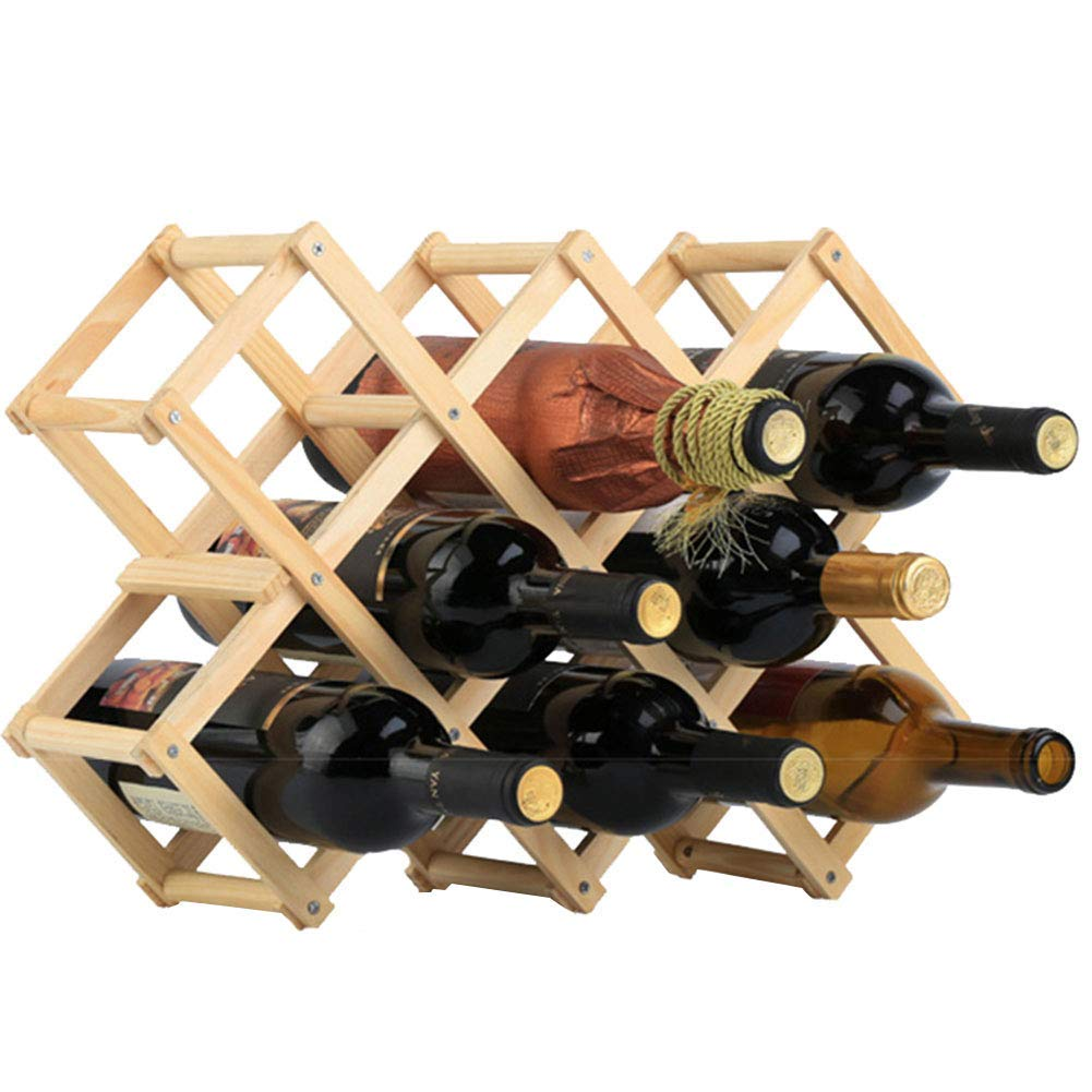 Aroon Wooden Wine Juice Bottle Holder - Natural Wine Shelves - 8 Slots - Holds 10 Wine Bottles, Wooden Collapsable Wine Rack Countertop Decorative Display Stand